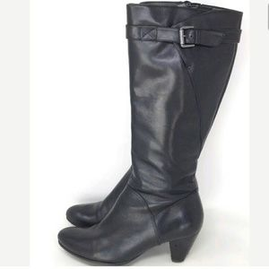 Ecco Tall Knee Boots Women's Black Leather 10